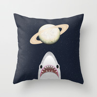 The Universe Is A Shark's Playground Throw Pillow by Octavia Soldani