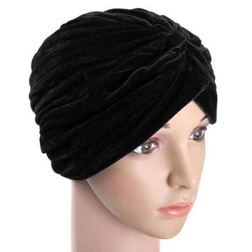Indian Style Turban Bonnet Cap Soft Velvet Head Hat Wrap Band Hair Cover Headban