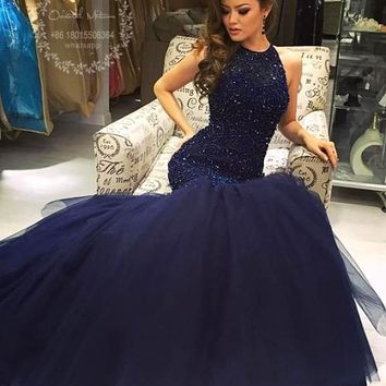 Bling Bling Beaded Crystal Prom Dresses 2017 Long Navy Blue Halter Mermaid Prom Dress for Girls Keyhole Back Party Evening Gowns