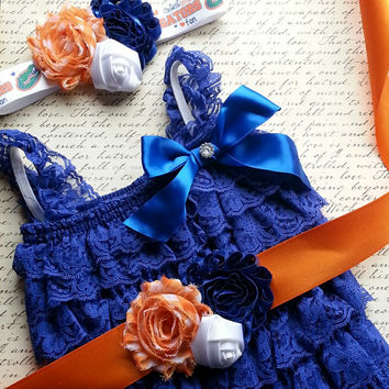 Baby Lace Romper Set, Smash Cake Outfit, Petti Lace Romper Set, Lace Romper Outfit  Florida Gators Photo Prop Newborn Outfit Birthday Outfit