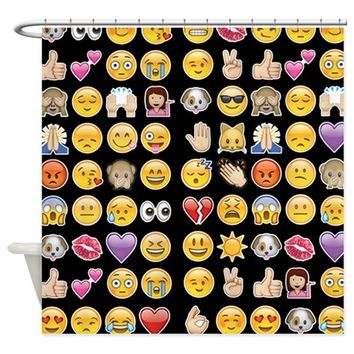 black emoji Shower Curtain