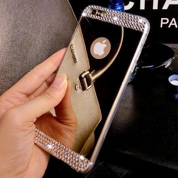 Luxury Rhinestone diamond Shiny Gold Silver Tpu Mirror Case Cover For Iphone 6 6s Plus 5 5S 4 4S Se 7 7 Plus 8 Plus X Case Cover