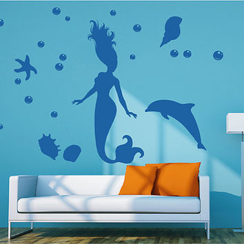 Kik72 Wall Decal Sticker Room Decor Wall Art Mural Mermaid With Dolphin  Siren Child Living Room