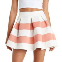 Pleated & Striped Skater Skirt by Charlotte Russe - Peach Combo