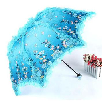 Women Sun Rain Umbrella Anti-UV Waterproof Parasol Folding Umbrellas Lovely Princess Lace Sunshade Umbrellas guarda-chuva