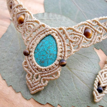 Turquoise macrame necklace,macrame tiara,turquoise cabochon,micro macrame,healing jewelry,micromacrame jewelry,macrame stone,free shipping