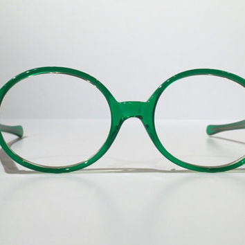 Vintage Green Glasses Frames, NOS Vintage 60s 70s Solid Green Round Eyeglasses Frame, Funky Green Sunmodes Circular Glasses or Sunglasses