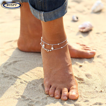 BYSPT Simulate Pearl Vintage Antique Silver Color Anklet Women Beads Bohemian Ankle Bracelet cheville Boho Foot Jewelry
