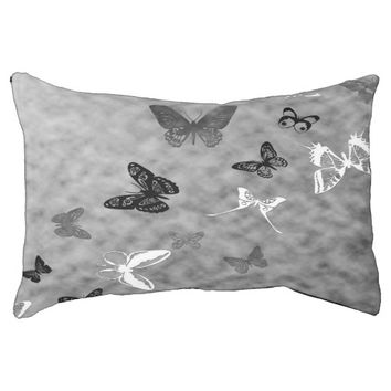 Black n White Butterflies Dog Bed