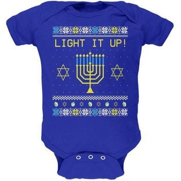 ICIK8UT Hanukkah Light It Up Ugly Christmas Sweater Soft Baby One Piece
