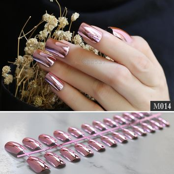 Solid metal Long section Finish Shape Press on Nails Full Set pink color False nails Light pink mirror fake nail Square head