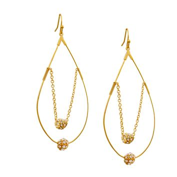 Gold Teardrop Earrings with Gold Chain and Rhinestone Ball Detail