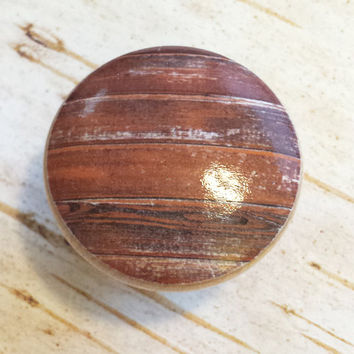 Distressed Wood Knob Drawer Pulls, Brown Reddish Orange Tones, Old Wood Cabinet Handles,  Reclaimed Wood, Made To Order, Style 9