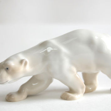 Royal Copenhagen Polar Bear Figurine Vintage Modernist Midcentury Bing & Grøndahl First Quality Wild Animal Sculpture Made in Denmark
