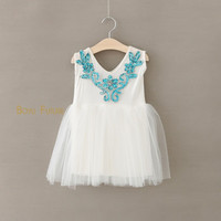 New Summer Style Beading Blue Sequined Flowers Attached Tulle Tutu Girl Dress Baby Toddler Party Dress Flower Girls Clothes 2-6Y