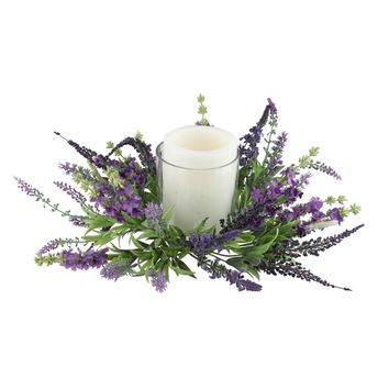 "15"" Decorative Artificial Purple Lavender Hurricane Glass Candle Holder"
