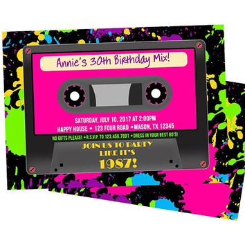 Cassette Invitations - Retro Neon 80s Invitations - Woman Birthday - Girl Birthday - Paint 80s Birthday Invitation - Any Age - 30th 40th