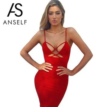 Women Sexy Spaghetti Strap Party Dresses Elegant Solid Summer Club Dress Backless One-Piece Pencil Dress