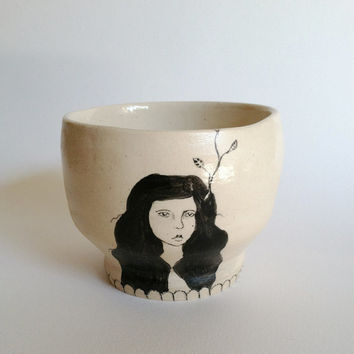 Hand-Painted Tea Cup - 6 oz