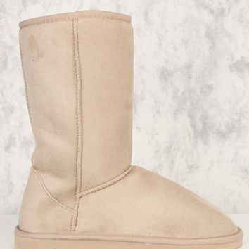 Taupe Slip On Casual Flat Boots Faux Suede