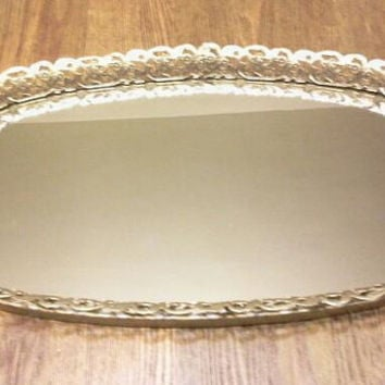 Vintage Oval Mirrored Tray, Mirror, Tray, Wedding Decor, Bedroom Decor, Dressing Room Decor