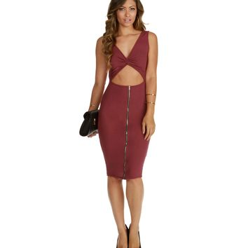 Promo- Burgundy Lets Keep it Going Midi Dress