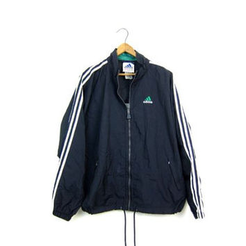 90s ADIDAS Pullover Jacket Sports Windbreaker Zip Up Sporty Workout Nylon Coat Black White Adidas Sport Pullover Mens Large
