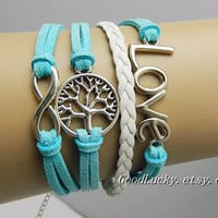 Hipster Jewelry charm leather bracelet,infinity bracelet,wish tree bracelet,love bracelet,Style Bracelet,blue,white rope leather bracelet