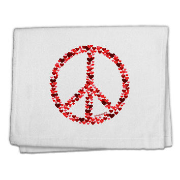"Peace Sign Hearts Red 11""x18"" Dish Fingertip Towel"