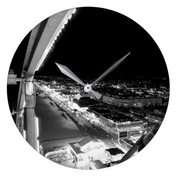 Black and White City View Wall Clock