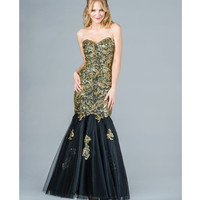 2014 Prom Dresses - Gold Sequin & Black Tulle Strapless Mermaid Gown