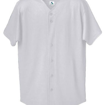 Augusta Sportswear Men's Button Front Baseball Shirt, Athletic Heather, XX-Large