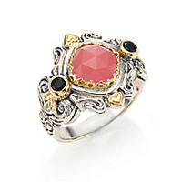 Konstantino - Amphitrite Guava Agate, Black Onyx, 18K Yellow Gold & Sterling Silver Ornate Ring - Saks Fifth Avenue Mobile