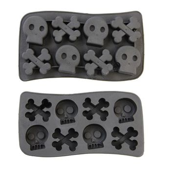 Free Shipping 1PCS Skull Freeze Ice Cube Tray Mold Maker Silicone Random Colour