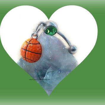 March Madness Green BasketBall Belly Ring,Sport Jewelry,NavelRing Piercing,Preppy Jewelry, Body Jewelry,Team, Ready to Ship, Direct Checkout