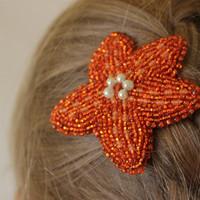 Starfish hairpin Beach jewelry Starfish hairclip Summer accessories Nautical decor Beach wedding gift Orange hair clip Ocean jewelry Boho