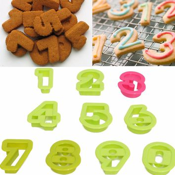 10PCS Number Icing Cookie Cutter Mold Cake Decorating Sugarcraft Chocolate Mold