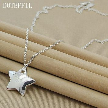 Genuine 925 Sterling Silver Star Pendant Necklace I Love You To The Moon And Back Fashion Jewelry Necklace For Women N286