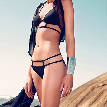 Bikini  2016 Bikini Swimwear Black Swimsuit Women  Biquinis Bikini Set  Lady Bathing Suit Female Swimwear