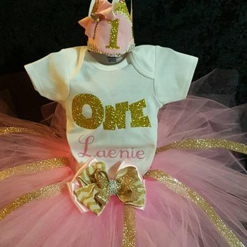 My first birthday pink and gold tutu,smash the cake with crown outfit