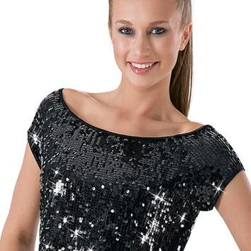 Short-Sleeve Sequin Cropped Top | Balera™