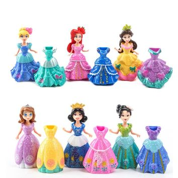 Frozen 12Pcs/Lot Princess SOfia Elsa Belle Mermaid Figures Doll Toys Model Action Figure Set With Magic Clip Dress For Children