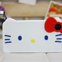 DC 3d Bow White Hello Kitty Soft Protective Case for Apple Iphone 4 and 4s(white Case, Red Bow):Amazon:Cell Phones & Accessories