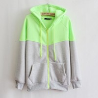 Women's clothing hooded fleece sweater cardigan zipper pocket
