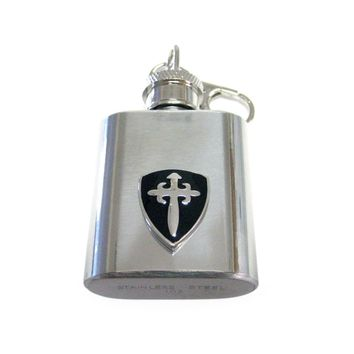 1 Oz. Stainless Steel Key Chain Flask with Black Medieval Shield Pendant