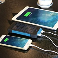 Solar Charger Battery Matone Portable 10000mAh Solar Battery Charger Shockproof With Light Dual USB output Solar Powered Phone Charger for iPhone, iPod, iPad, Samsung, HTC, GPS & Gopro Camera (Blue)
