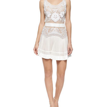 Roberto Cavalli Floral Lace Accordion Pleated Dress
