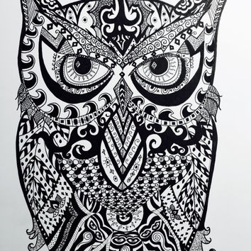 """Owl Pen and Ink Print 8.5 """" x 11"""" Home Decor Artwork - Hand Drawn Art - Black and White"""
