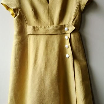 Vintage 1960s Mod Style A Line Dress in Mustard/Marigold Yellow with White Buttons