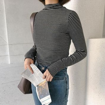 Women's Turtleneck Harajuku T shirt Striped Kawaii Tee Tops Preppy Long Sleeve Tshirt Female Fashion T-shirt HT463